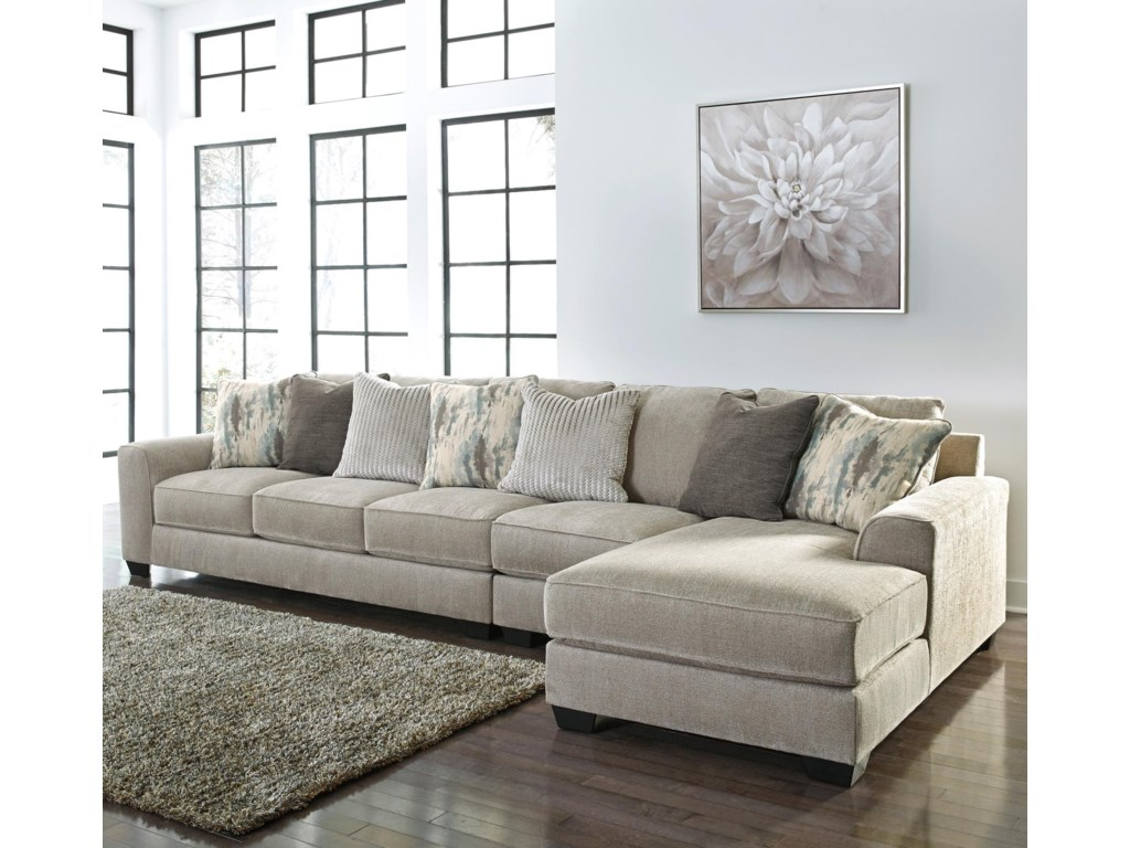 Signature Design By Ashley Ardsley3-Piece Sectional with Right Chaise