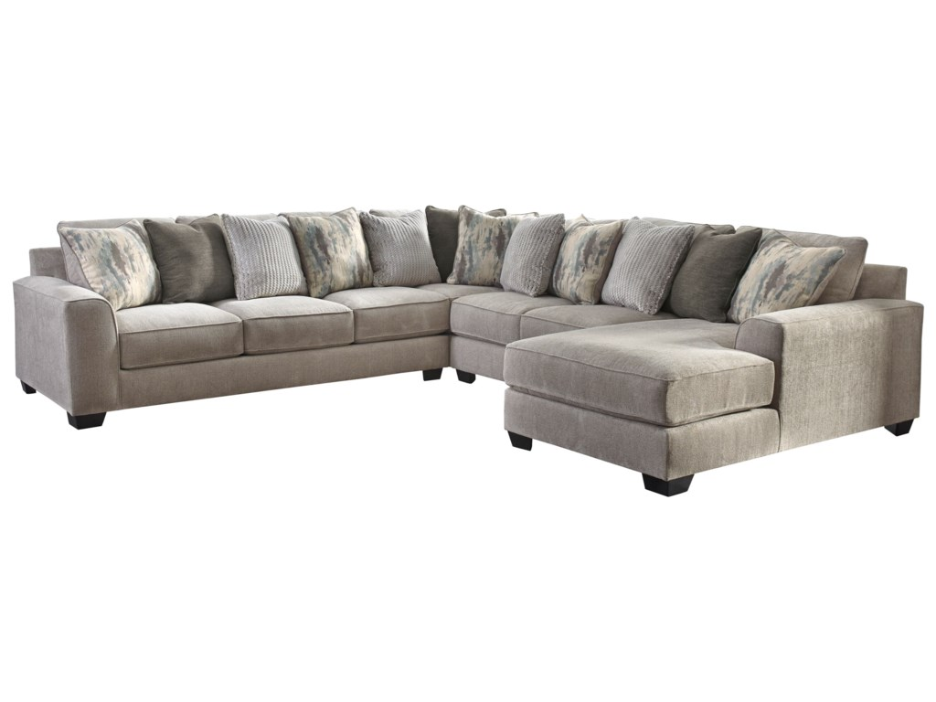 Signature Design By Ashley Ardsley4-Piece Sectional with Right Chaise