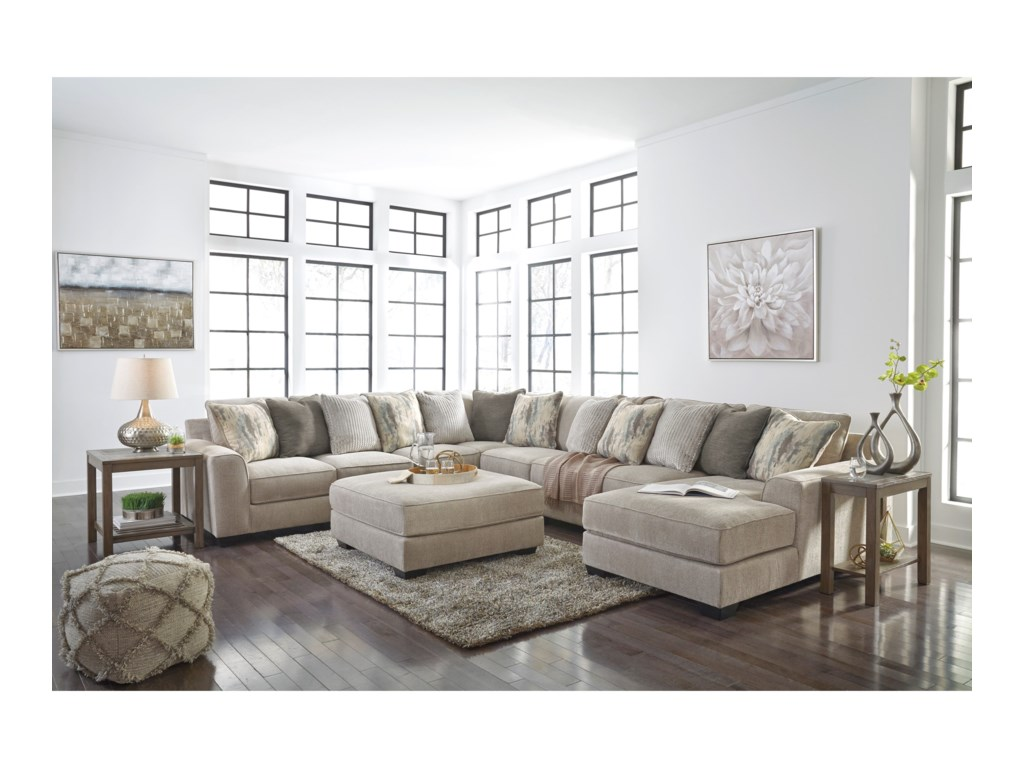 Signature Design By Ashley Ardsley5-Piece Sectional with Right Chaise