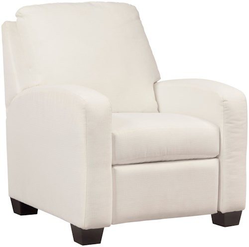 Benchcraft Ayanna Nuvella Contemporary Push Back Low Leg Recliner in Performance Fabric