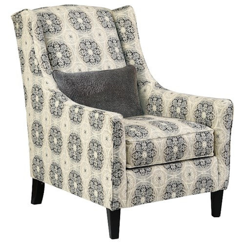 Benchcraft Azlyn Transitional Accent Chair with Wing Back and Accent Pillow