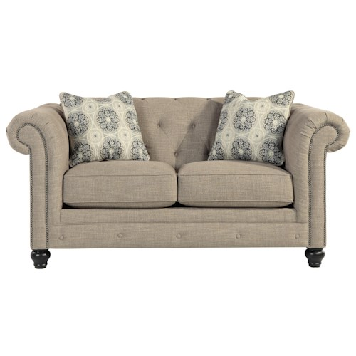 Benchcraft Azlyn Transitional Chesterfield Loveseat with Linen-Blend Fabric