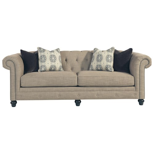 Benchcraft Azlyn Transitional Chesterfield Sofa with Linen-Blend Fabric