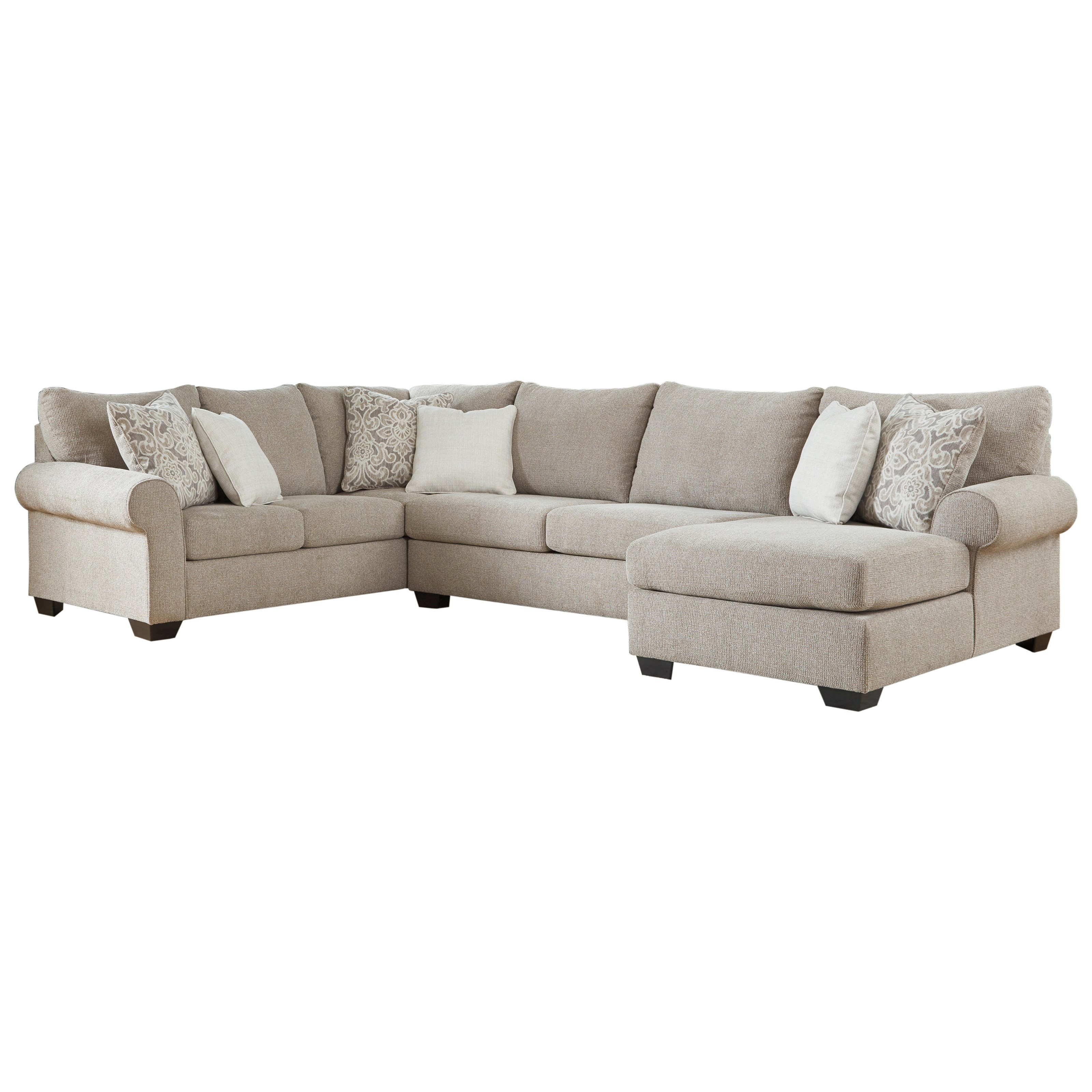Transitional 3-Piece Sectional with Right Chaise