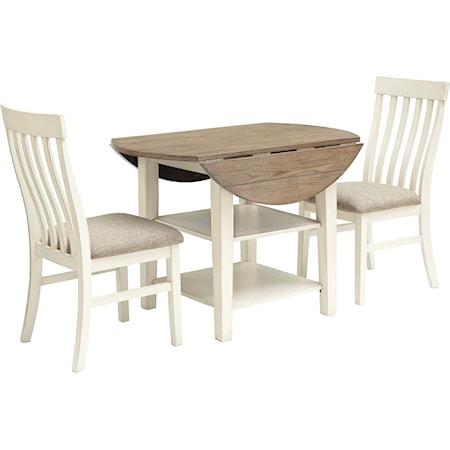 3-Piece Two-Tone Drop Leaf Table Set