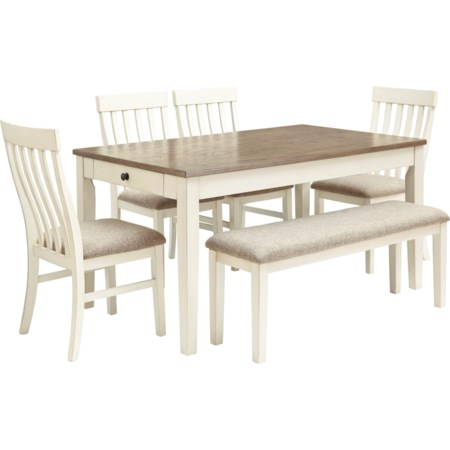 6-Piece Dining Table Set w/ Bench