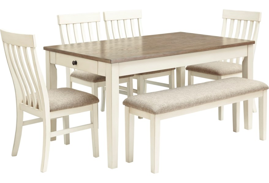 Bardilyn 6 Piece Two Tone Rectangular Dining Table Set W Bench By Benchcraft At Dunk Bright Furniture