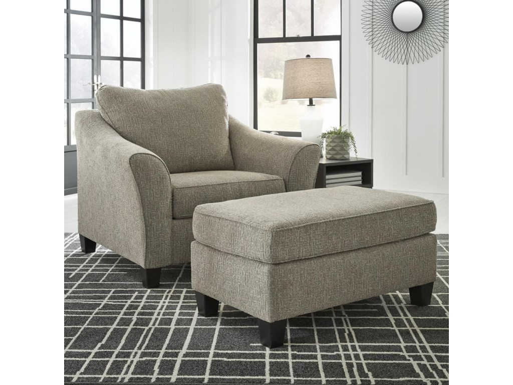 Signature Design By Ashley BarnesleyChair and a Half & Ottoman