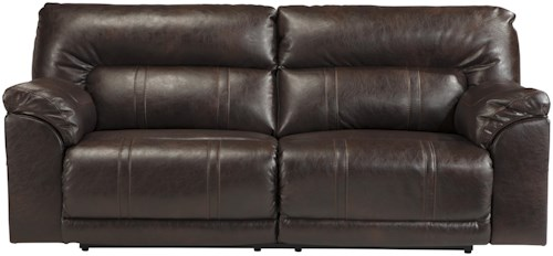 Benchcraft Barrettsville DuraBlend® Bonded Leather Match 2 Seat Reclining Power Sofa