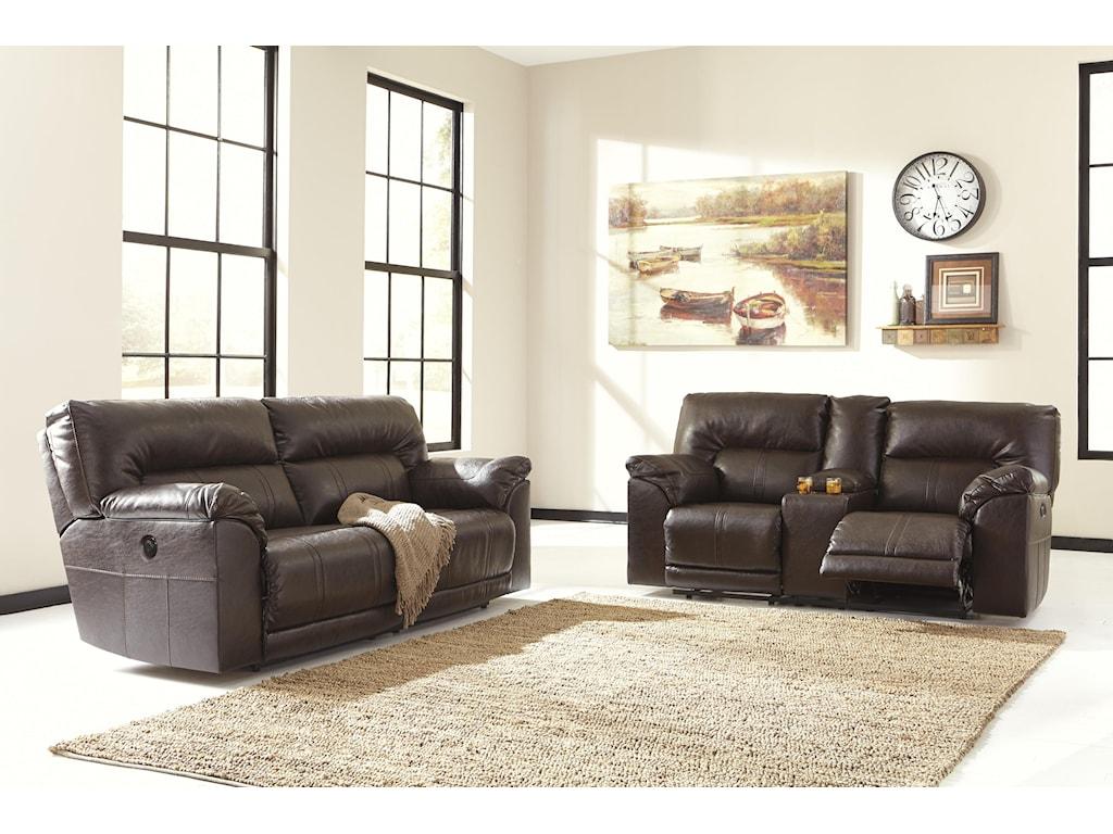 Benchcraft Barrettsville DuraBlend®2 Seat Reclining Power Sofa