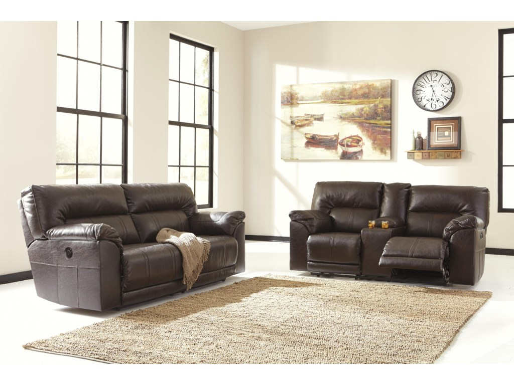 Benchcraft Barrettsville DuraBlend®2 Seat Reclining Power Sofa
