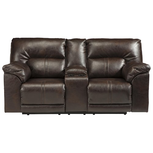 Benchcraft Barrettsville DuraBlend® Double Reclining Loveseat w/ Console