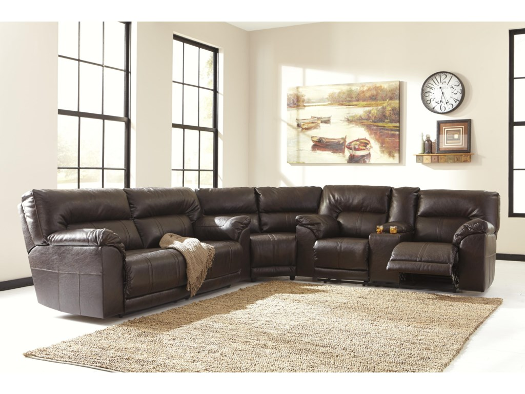 Benchcraft Barrettsville DuraBlend®Double Reclining Loveseat w/ Console