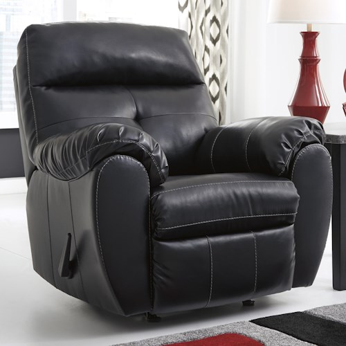 Benchcraft Bastrop DuraBlend - Midnight Contemporary Bonded Leather Match Rocker Recliner