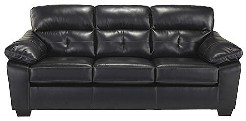 Benchcraft Bastrop DuraBlend - Midnight Contemporary Bonded Leather Match Full Sofa Sleeper