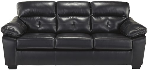 Benchcraft Bastrop DuraBlend - Midnight Contemporary Bonded Leather Match Sofa
