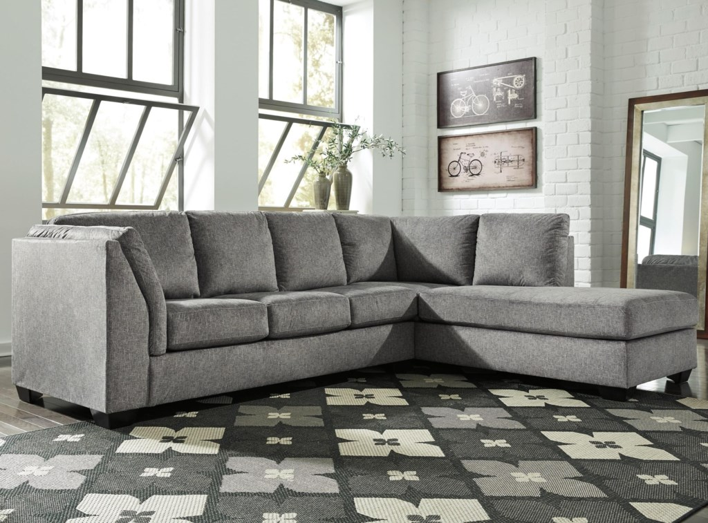 Benchcraft belcastel 2 piece sectional with right chaise sleeper sofa in gray fabric