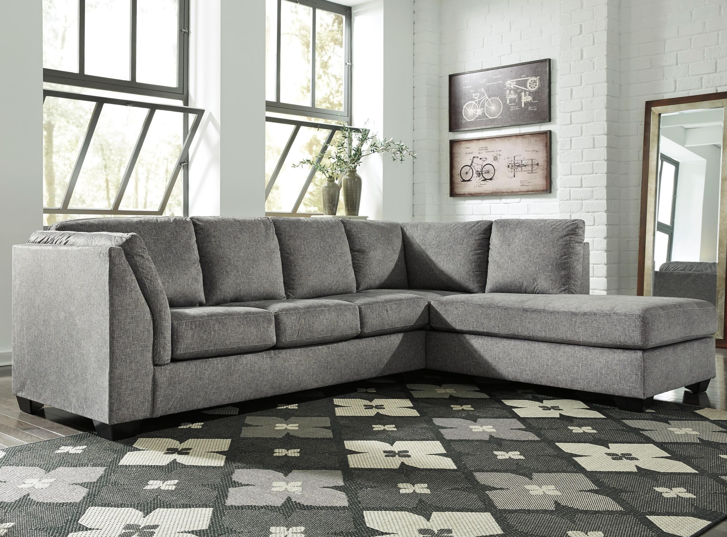 Benchcraft Belcastel 2 Piece Sectional With Right Chaise U0026 Sleeper Sofa In  Gray Fabric