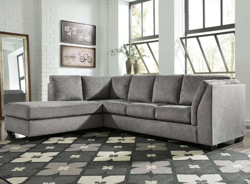 Belcastel 2 Piece Sectional With Left Chaise In Gray Fabric Becker
