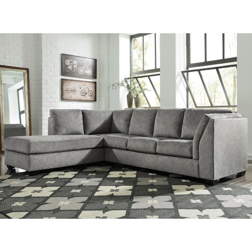 Benchcraft Belcastel 2 Piece Sectional With Left Chaise In Gray Fabric