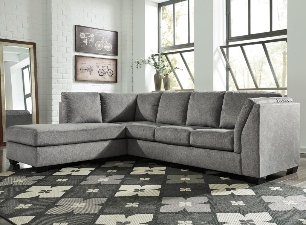 Benchcraft belcastel 2 piece sectional with left chaise sleeper sofa in gray fabric dunk bright furniture sectional sofas