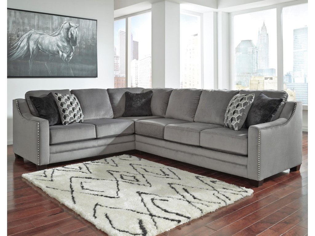 Benchcraft Bicknell Contemporary Piece Sectional With Right Sofa - 2 piece sectional sofas