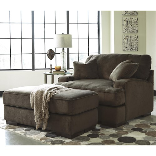 Benchcraft Bisenti Contemporary Chair and a Half & Ottoman
