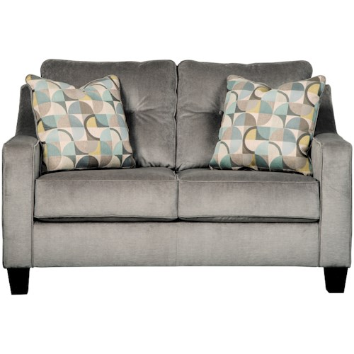 Benchcraft Bizzy Mid-Century Style Loveseat with Sloping Track Arms