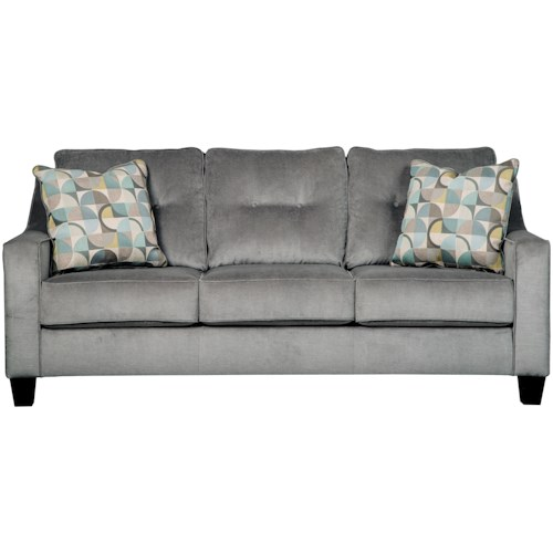 Benchcraft Bizzy Mid-Century Style Sofa with Sloping Track Arms