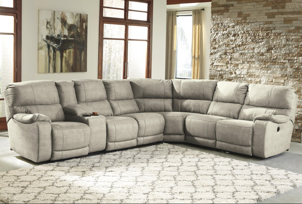 Bohannon Power Reclining Sectional With Console Becker Furniture  ~ Fabric Sectional Sofa With Power Recliner