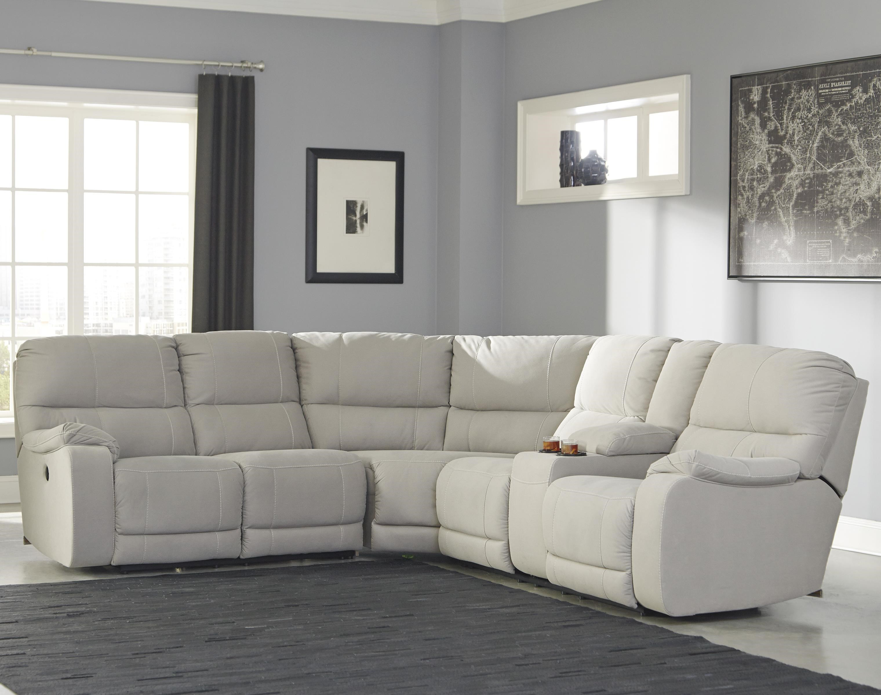 Benchcraft Bohannon Power Reclining Sectional with Console  sc 1 st  Pilgrim Furniture City : sectional power recliner - Sectionals, Sofas & Couches