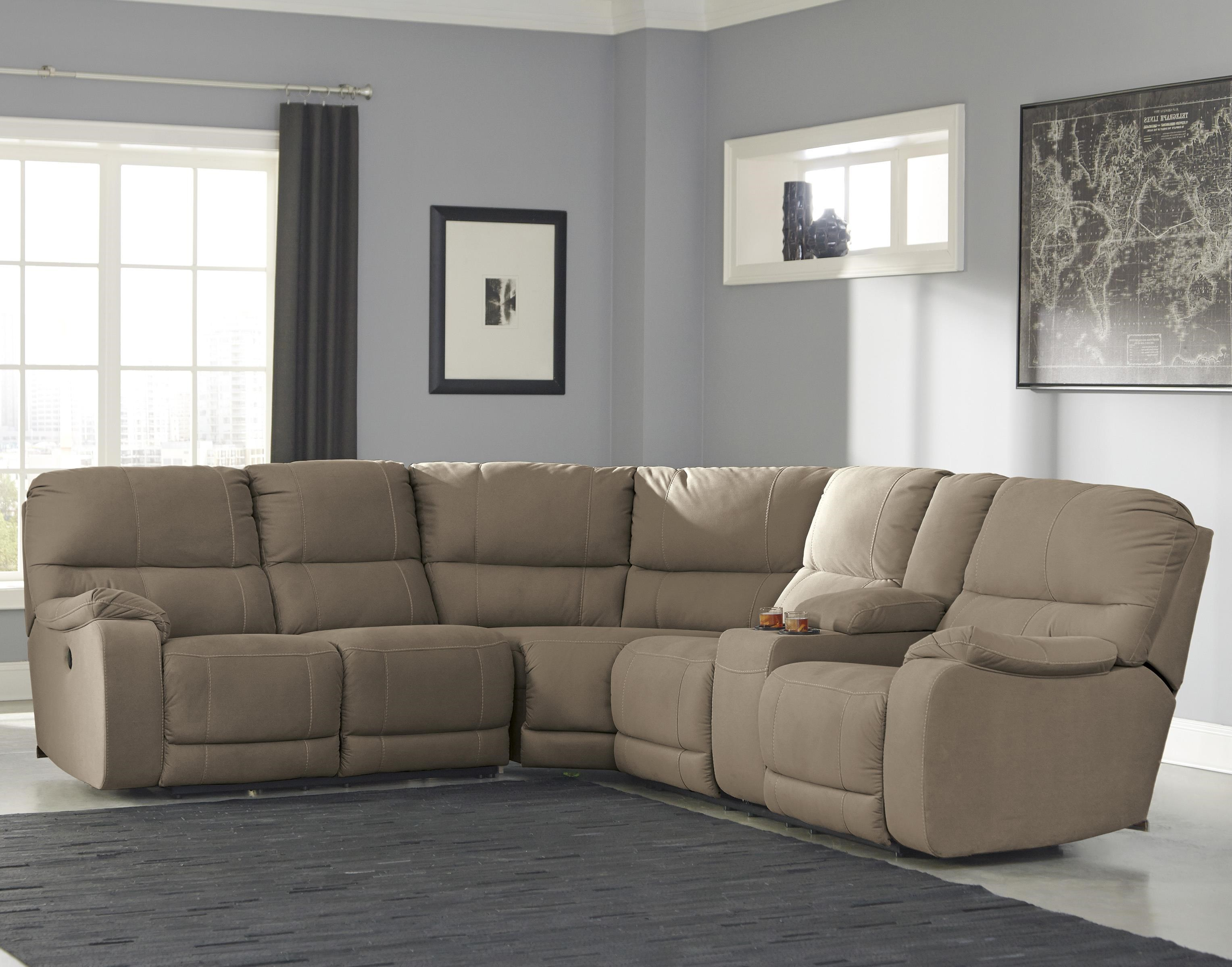 Benchcraft by Ashley Bohannon Power Reclining Sectional with Console - Royal Furniture - Reclining Sectional Sofa & Benchcraft by Ashley Bohannon Power Reclining Sectional with ... islam-shia.org