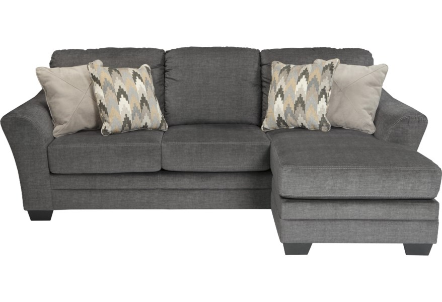 Braxlin Contemporary Sofa Chaise in Gray Fabric by Benchcraft at Wilson\'s  Furniture