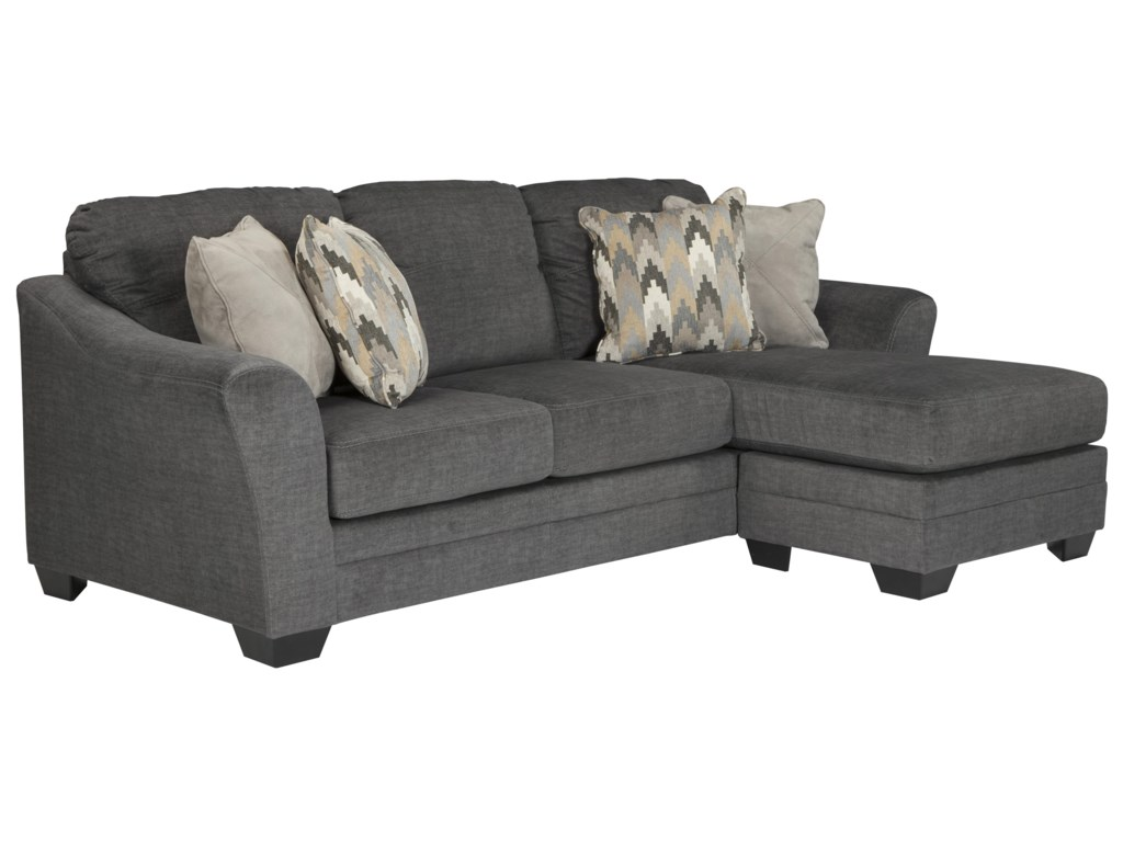 Braxlin Contemporary Sofa Chaise In Gray Fabric By Benchcraft Ashley At Royal Furniture