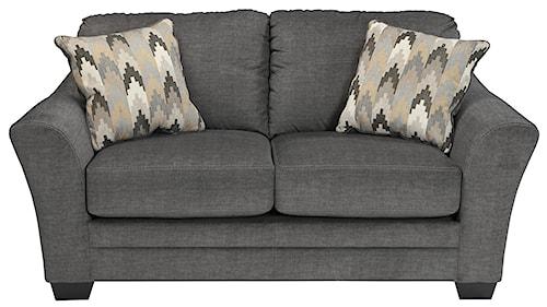 Benchcraft Braxlin Contemporary Loveseat in Gray Fabric