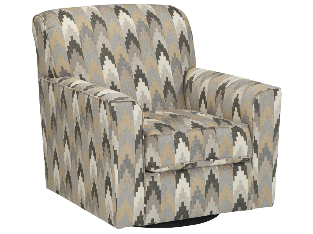 Braxlin Contemporary Swivel Accent Chair In Geometric Fabric By Benchcraft At Beck S Furniture