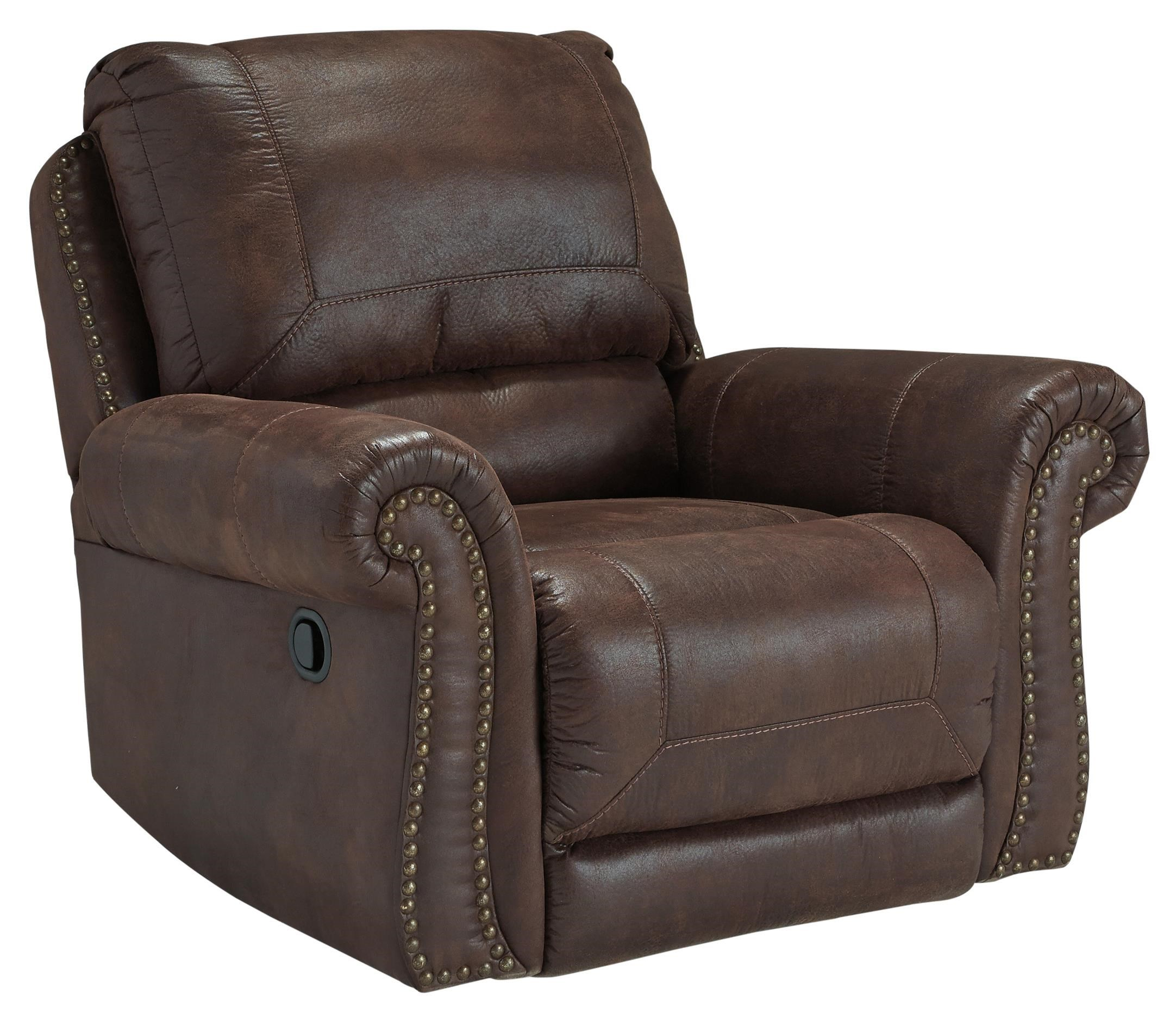 Faux Leather Rocker Recliner with Rolled Arms and Nailhead Trim