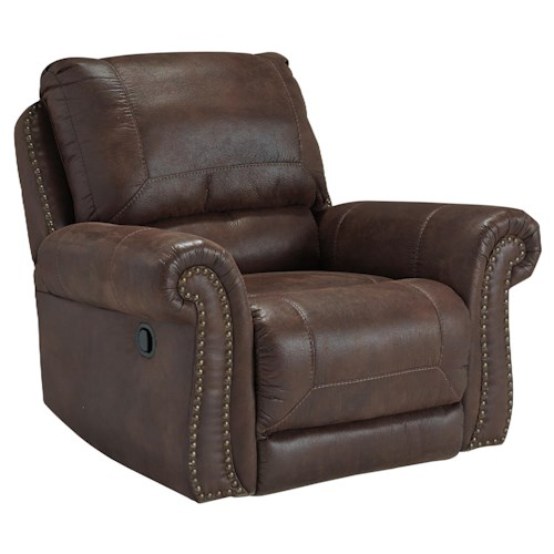 Benchcraft Breville Faux Leather Rocker Recliner with Rolled Arms and Nailhead Trim