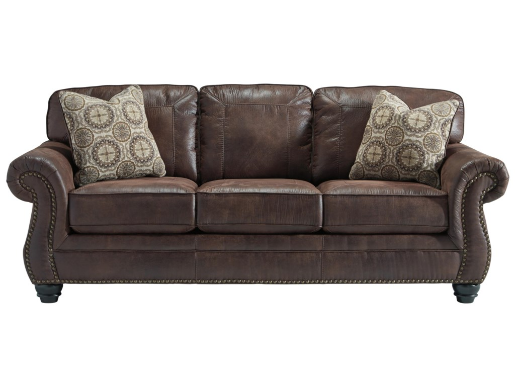 Breville Faux Leather Sofa With Rolled Arms And Nailhead Trim By Benchcraft At Belfort Furniture
