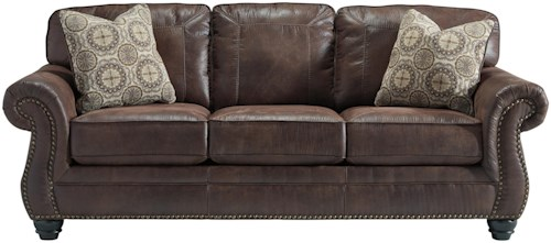 Benchcraft Breville Faux Leather Queen Sofa Sleeper with Rolled Arms and Nailhead Trim