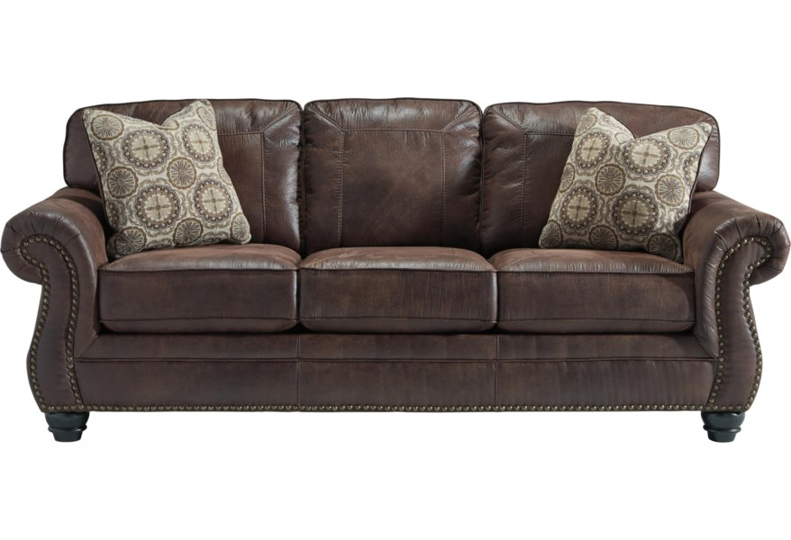 Breville Faux Leather Queen Sofa Sleeper with Rolled Arms and Nailhead Trim  by Benchcraft by Ashley at Coconis Furniture & Mattress 1st