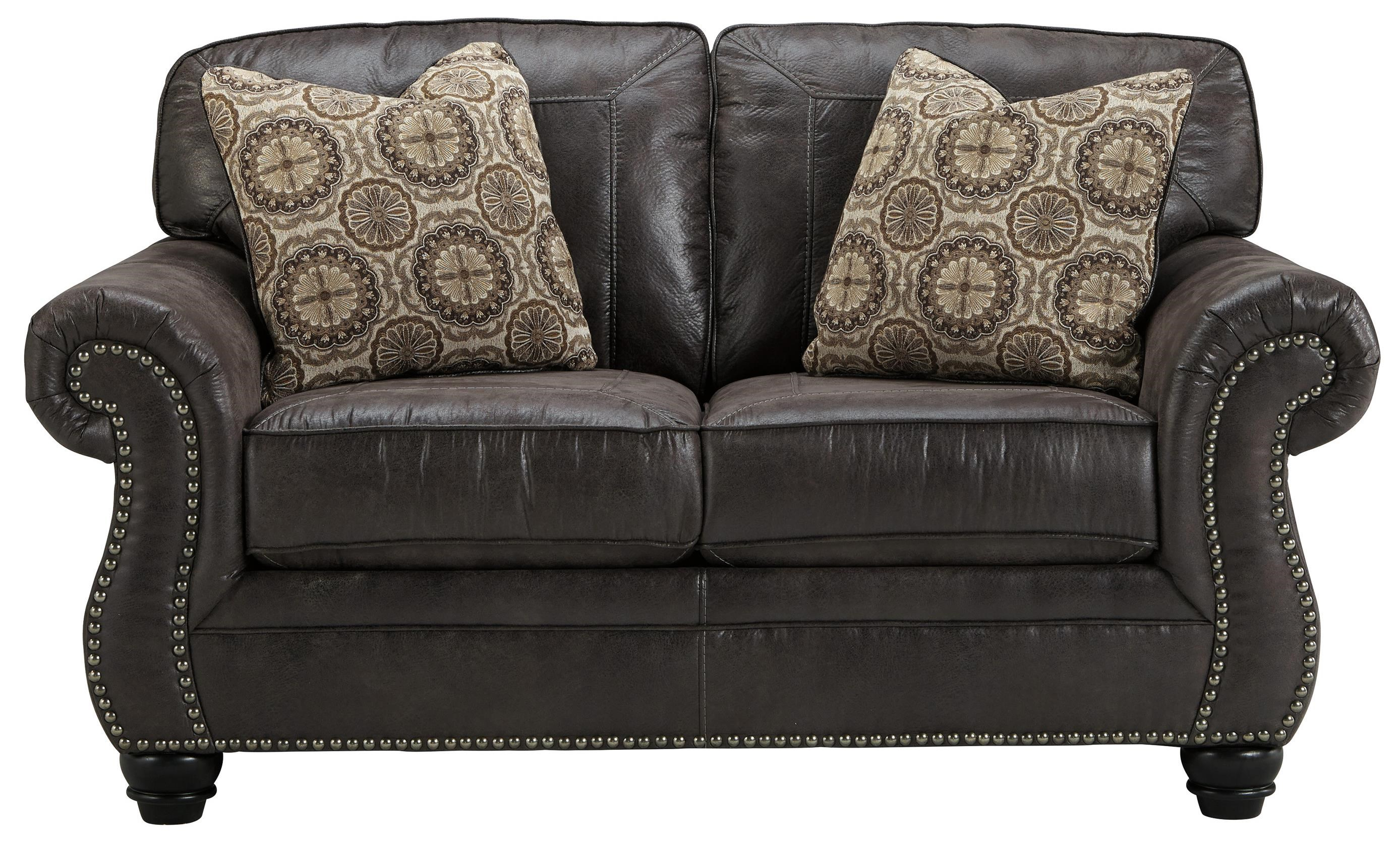 Picture of: Benchcraft Breville Faux Leather Loveseat With Rolled Arms Nailhead Trim Wayside Furniture Love Seats