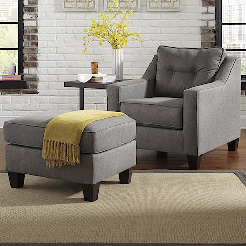 Benchcraft Brindon Contemporary Chair & Ottoman