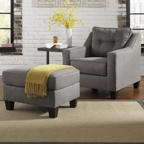 Benchcraft Brindon Contemporary Chair & Ottoman