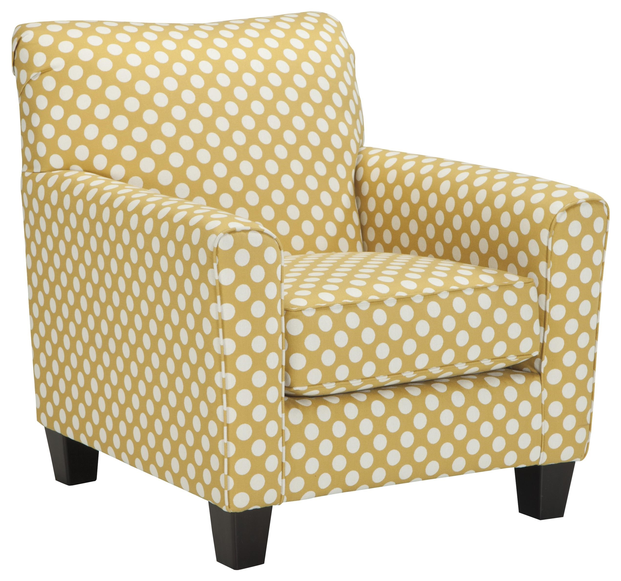 Benchcraft Brindon Accent Chair In Yellow Fabric With White Polka Dots