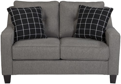 Benchcraft Brindon Contemporary Loveseat with Track Arms & Tufted Back