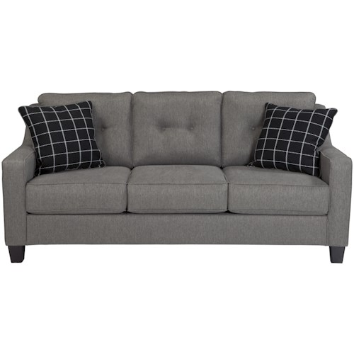 Benchcraft Brindon Contemporary Queen Sofa Sleeper With Track Arms Tufted Back