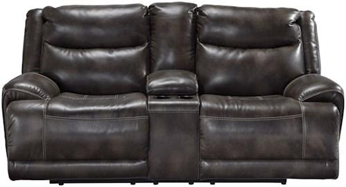 Benchcraft Brinlack Casual Power Reclining Loveseat with Adjustable Headrest