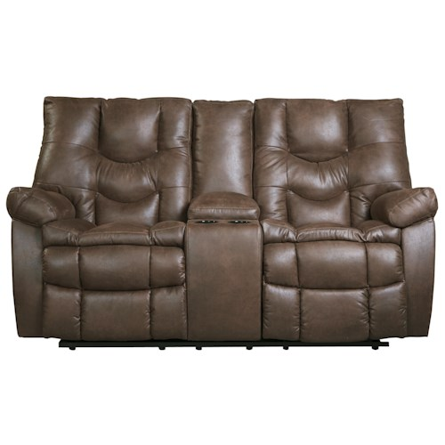 Benchcraft Burgett Faux Leather Glider Reclining Power Loveseat w/ Console