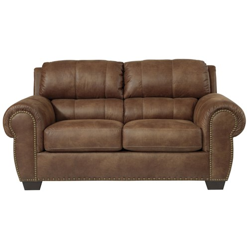 Benchcraft Burnsville Transitional Loveseat with Rolled Arms & Nailhead Trim